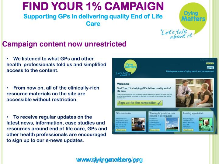 FIND YOUR 1% CAMPAIGN