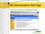 cms demonstrations web page