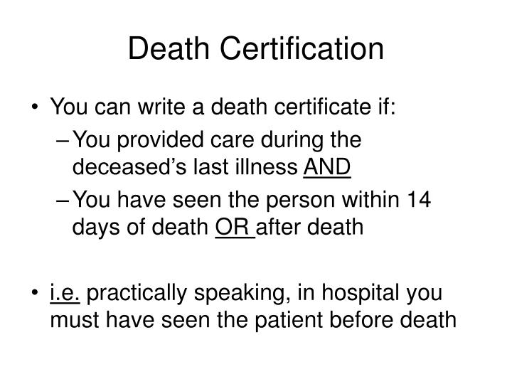 Death Certification