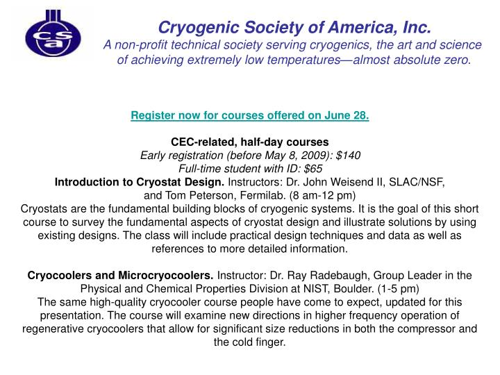 Cryogenic Society of America, Inc.