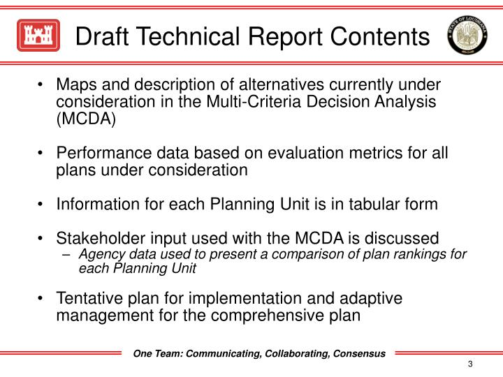 Draft technical report contents