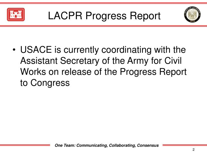 Lacpr progress report