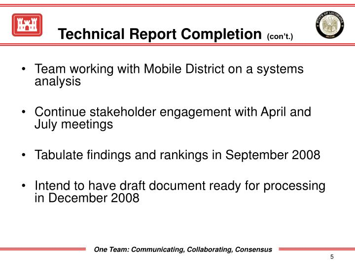 Technical Report Completion