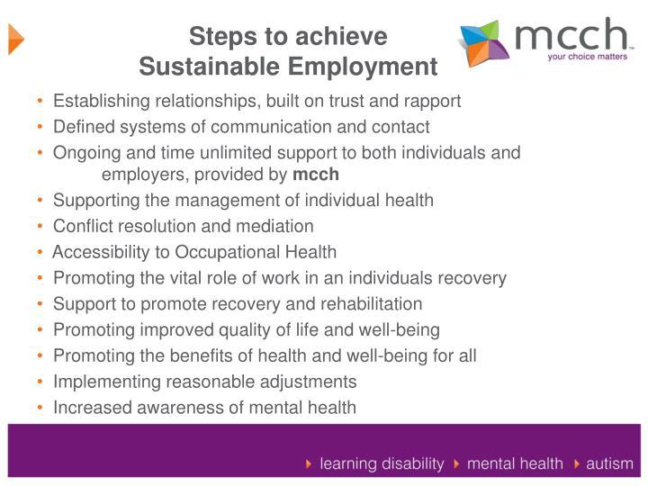 Steps to achieve