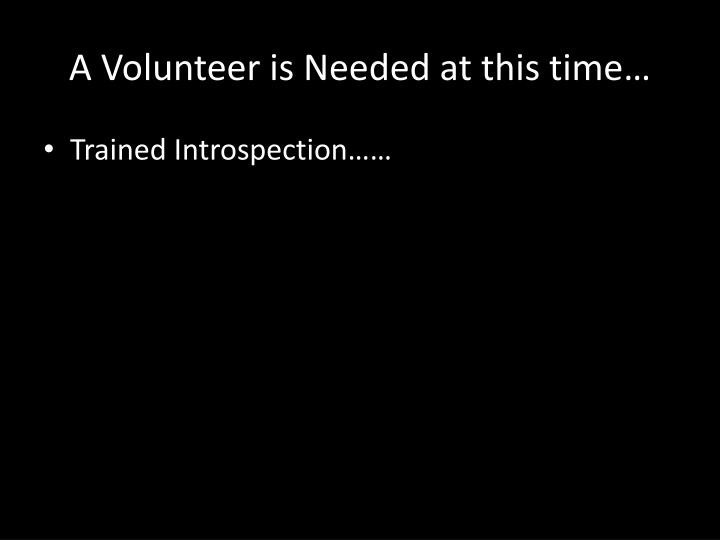 A Volunteer is Needed at this time…