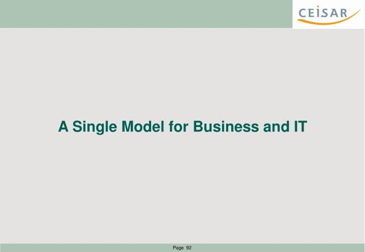 A Single Model for Business and IT
