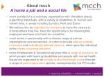 about mcch a home a job and a social life