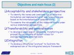 objectives and main focus 2