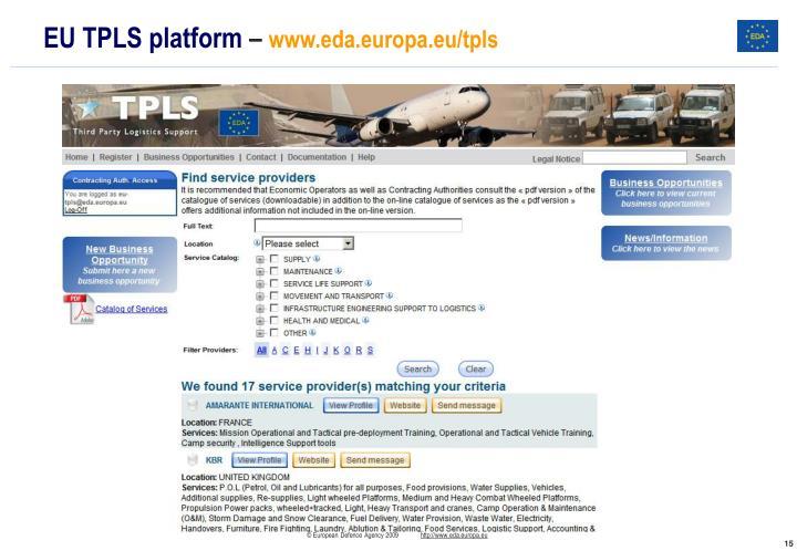 EU TPLS platform