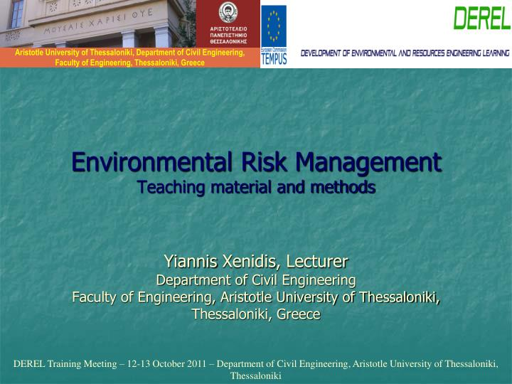 environmental risk management teaching material and methods