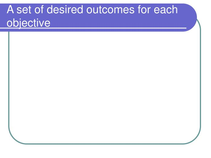 A set of desired outcomes for each objective