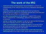 the work of the irg