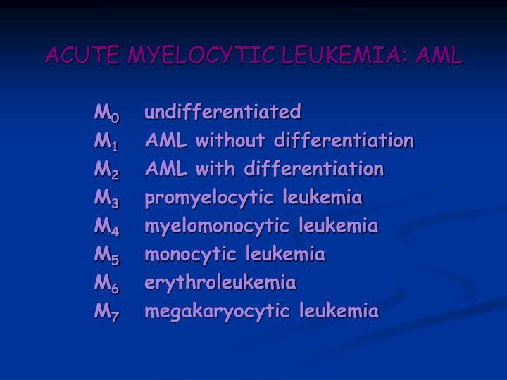 ACUTE MYELOCYTIC LEUKEMIA: AML
