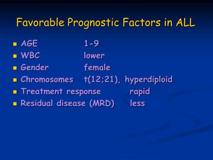 Favorable Prognostic Factors in ALL