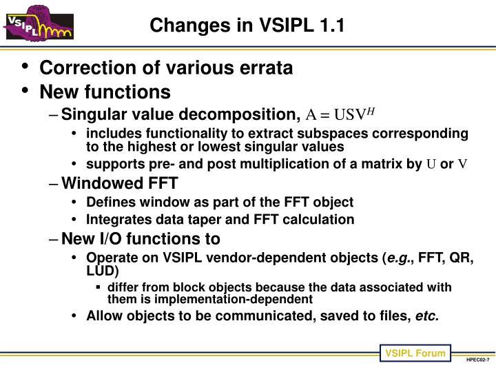 Changes in VSIPL 1.1