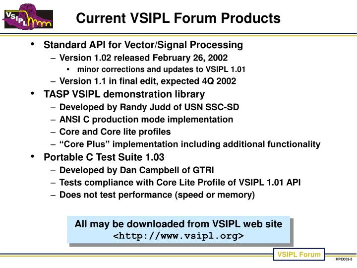 Current VSIPL Forum Products