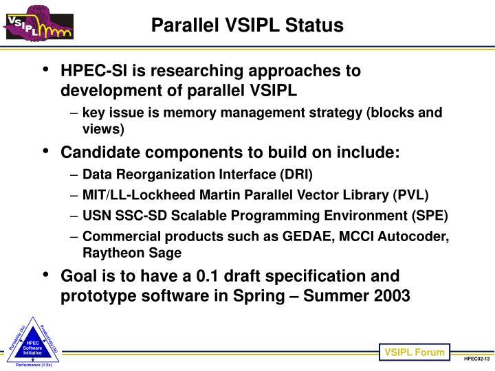 Parallel VSIPL Status