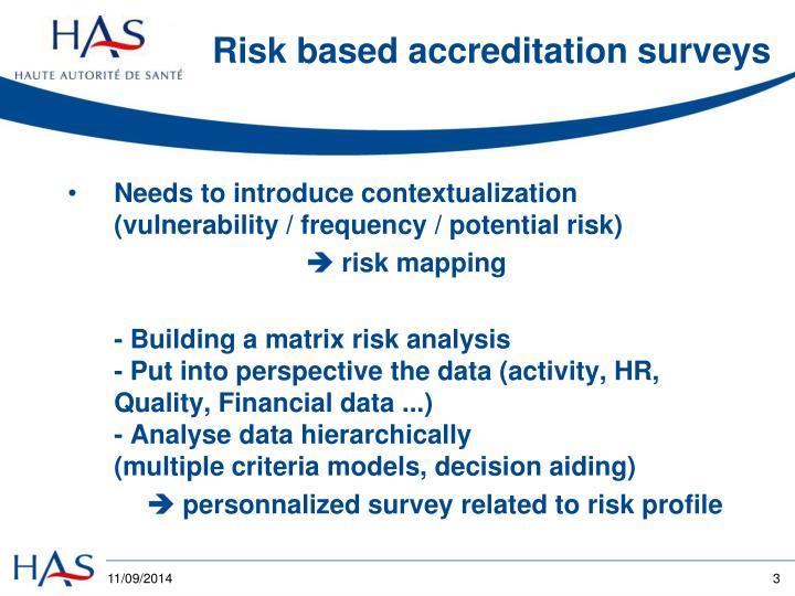 Risk based accreditation surveys