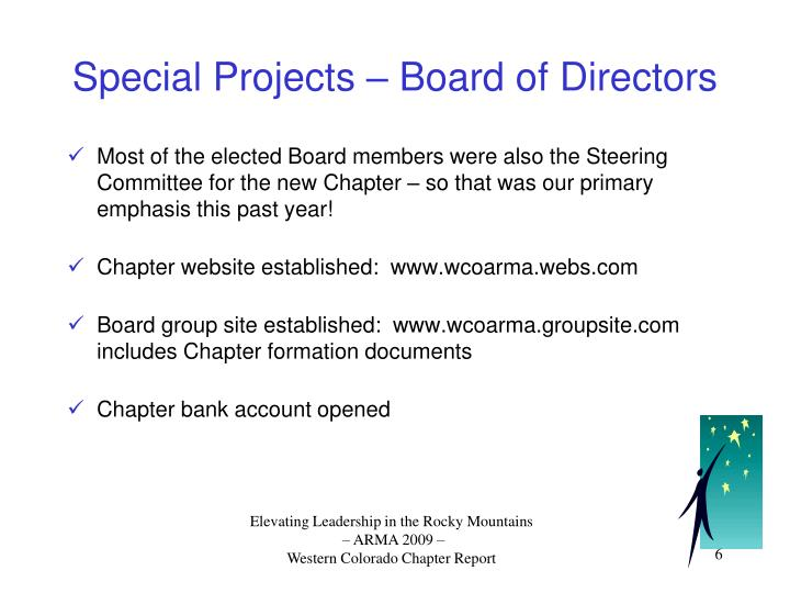 Special Projects – Board of Directors