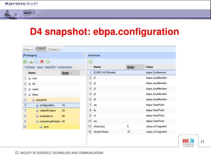 D4 snapshot: ebpa.configuration