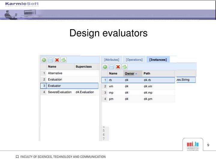 Design evaluators