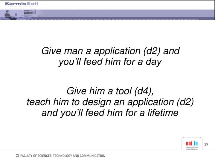 Give man a application (d2) and