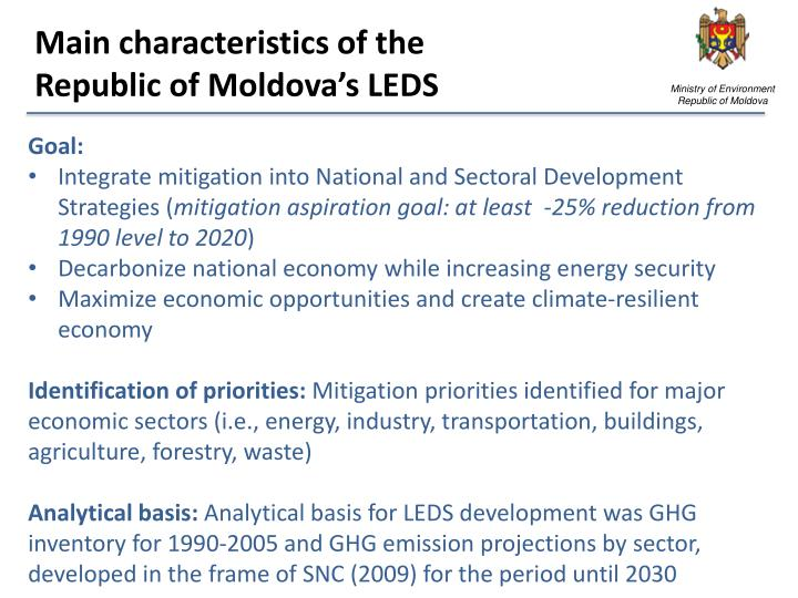 Main characteristics of the republic of moldova s leds