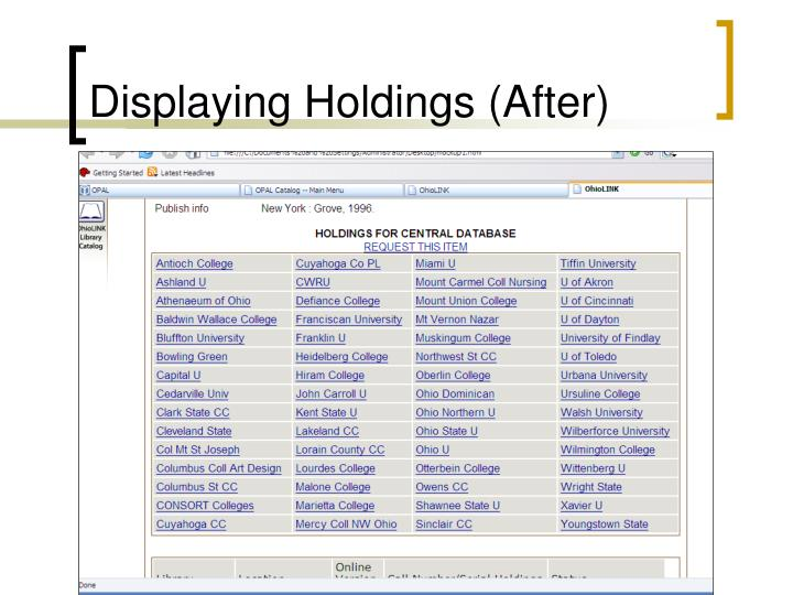 Displaying Holdings (After)