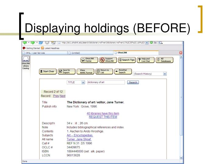 Displaying holdings (BEFORE)