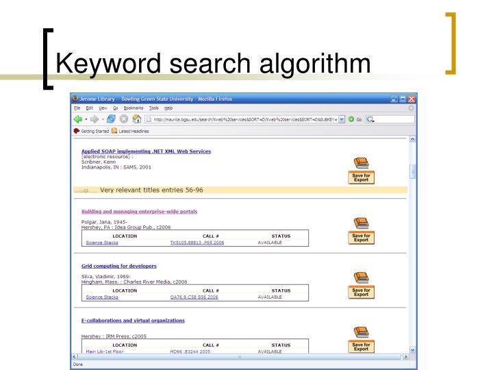 Keyword search algorithm