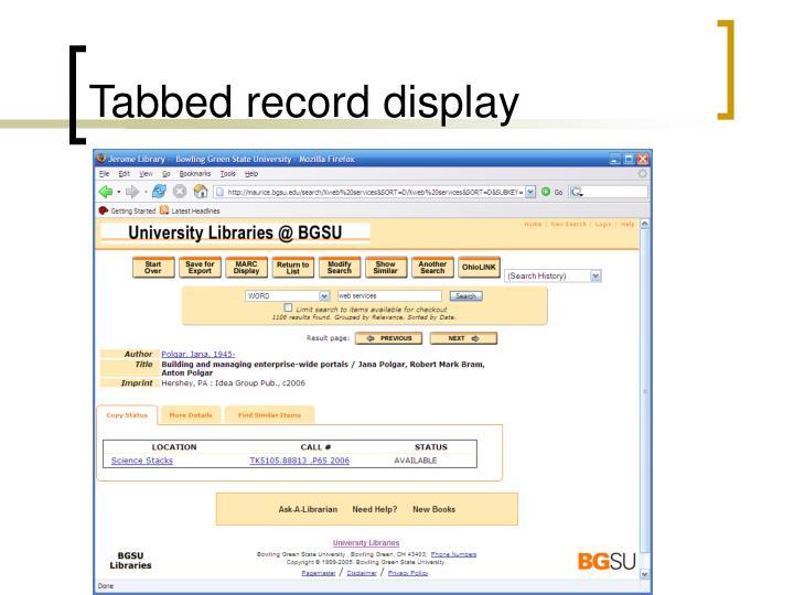 Tabbed record display