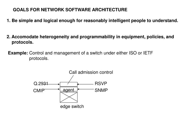GOALS FOR NETWORK SOFTWARE ARCHITECTURE