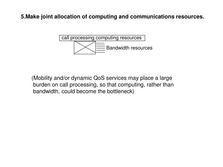 5.Make joint allocation of computing and communications resources.