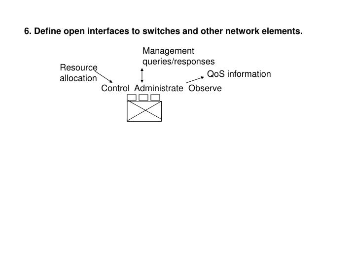 6. Define open interfaces to switches and other network elements.