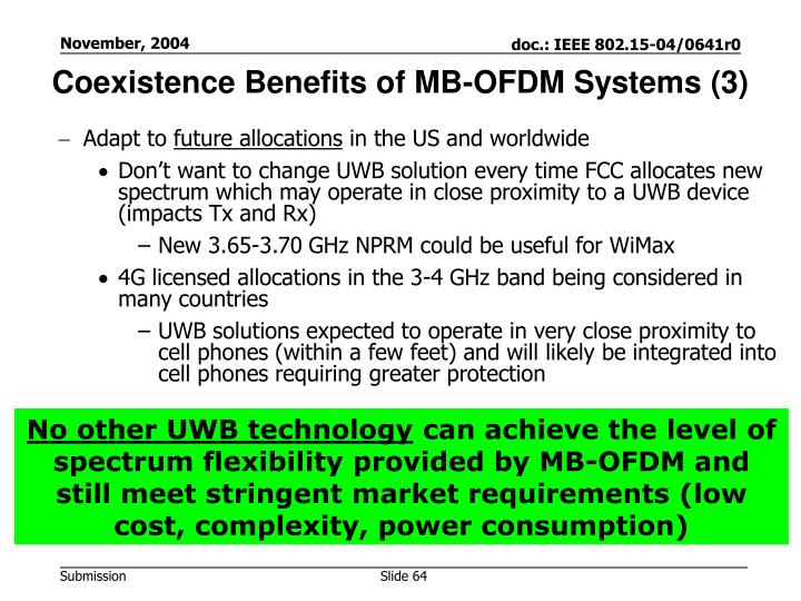 Coexistence Benefits of MB-OFDM Systems (3)