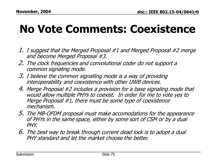No Vote Comments: Coexistence