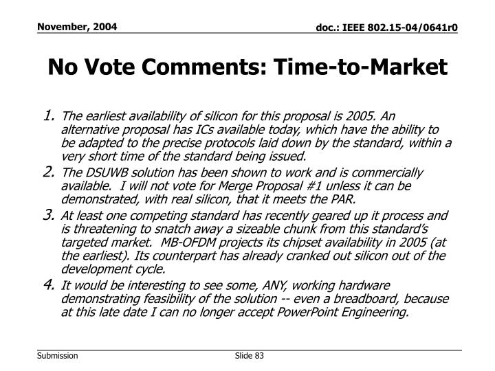 No Vote Comments: Time-to-Market