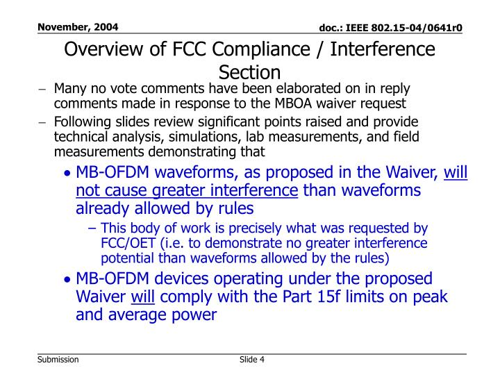 Overview of FCC Compliance / Interference Section