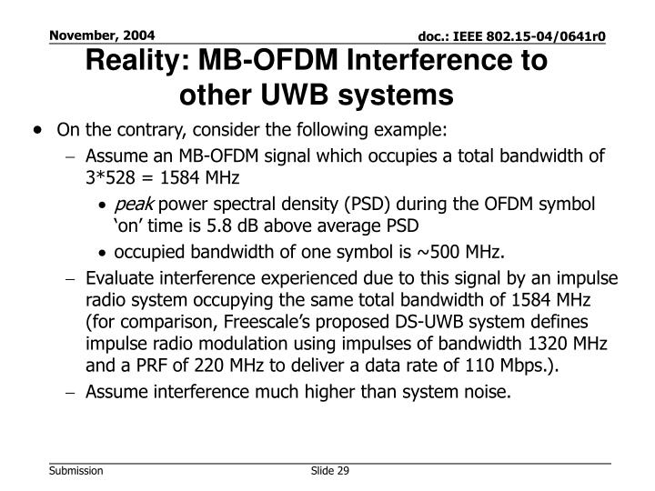 Reality: MB-OFDM Interference to other UWB systems