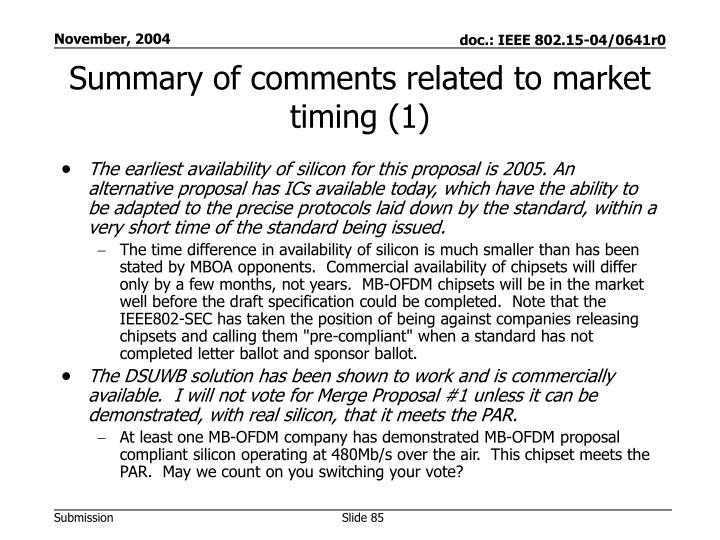 Summary of comments related to market timing (1)
