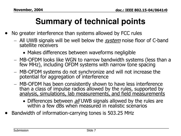 Summary of technical points