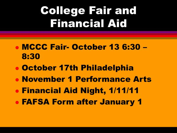 College Fair and Financial Aid