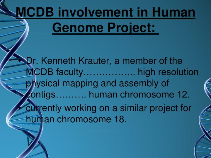 MCDB involvement in Human Genome Project: