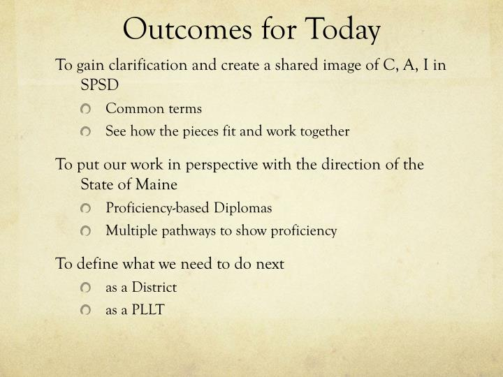 outcomes for today n.