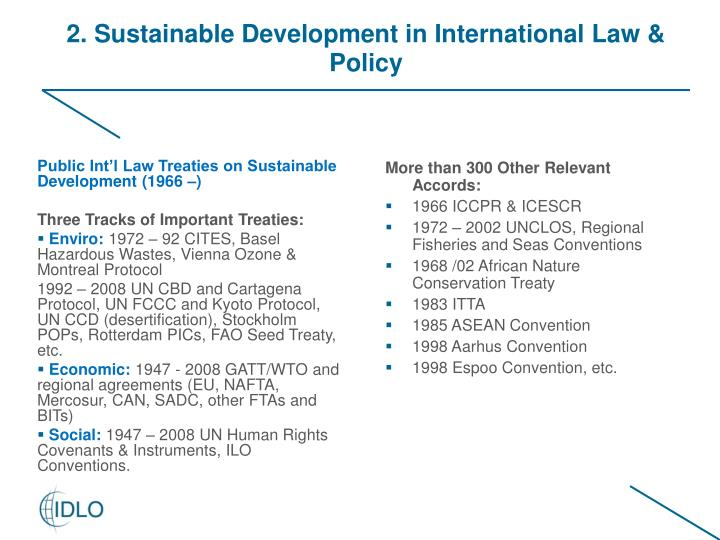 Public Int'l Law Treaties on Sustainable Development (1966 –)