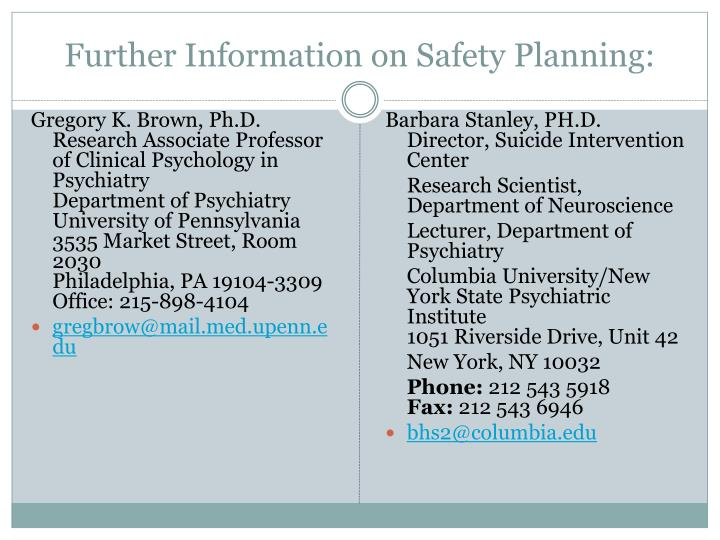Further Information on Safety Planning: