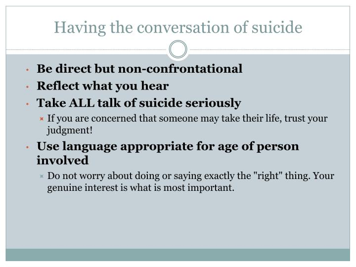 Having the conversation of suicide