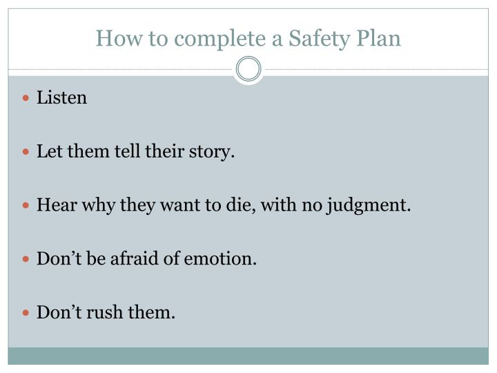 How to complete a Safety Plan