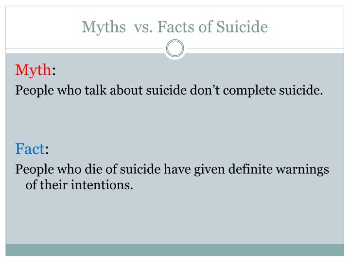 Myths vs facts of suicide