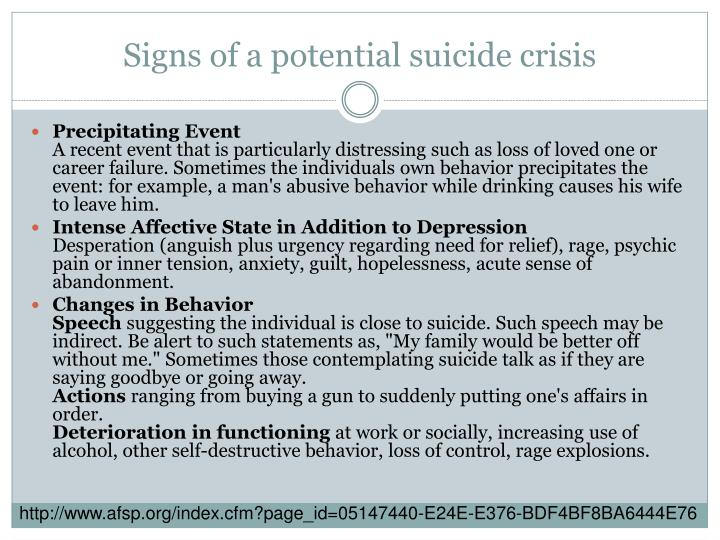 Signs of a potential suicide crisis